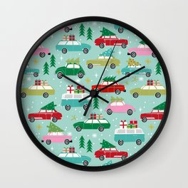 Vintage Christmas cars festive holiday traditions snow winter snowflakes classic car pattern Wall Clock