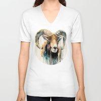 ram V-neck T-shirts featuring Ram by Slaveika Aladjova