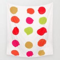 kiwi Wall Tapestries featuring Strawberry Kiwi by Olivia Joy StClaire
