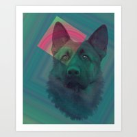 german shepherd Art Prints featuring German Shepherd by MOSAICOArteDigital