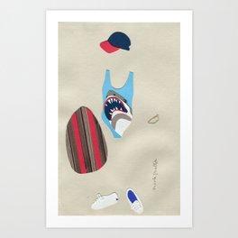 Shark Bathing Suit Outfit Art Print