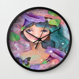 Whimiscal Girl with Morning Glories Wall Clock