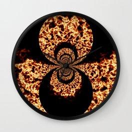 Firestorm Black and Orange Abstract Fire Art Wall Clock