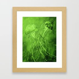 Dance of the Sea in Green Framed Art Print
