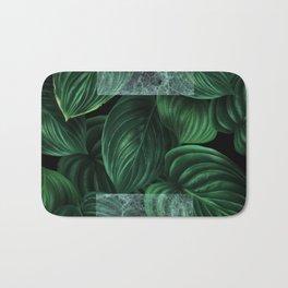 tropical green pattern on black Bath Mat