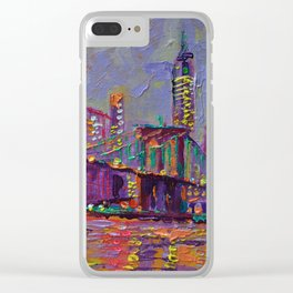New York City Lights - palette knife painting abstract manhattan skyline Brooklyn bridge Clear iPhone Case