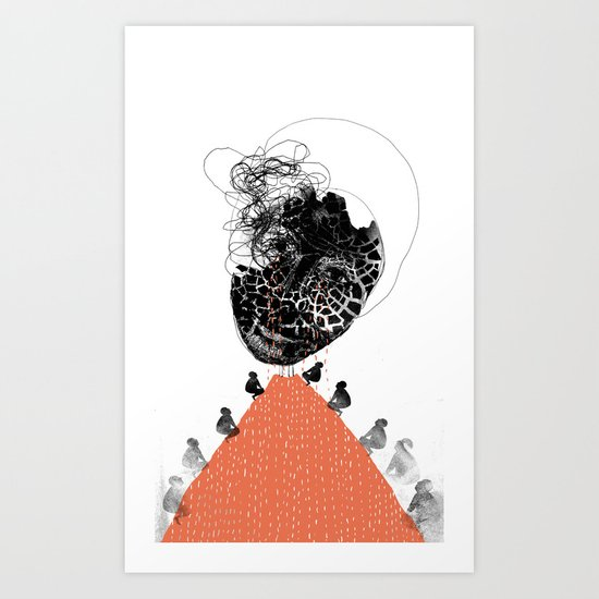 Moonrise mountain (mother earth cries) Art Print