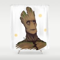 groot Shower Curtains featuring Groot by Ryan James Art