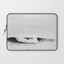 Minimalist Black and White Ocean Wave Photograph Laptop Sleeve