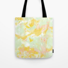 Marble Mist Yellow Green Pink Tote Bag