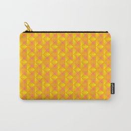 Chaotic pattern of dark yellow rhombuses and orange triangles in a zigzag. Carry-All Pouch