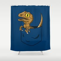jurassic park Shower Curtains featuring Pocket Raptor (Jurassic Park Velociraptor) by Tabner's