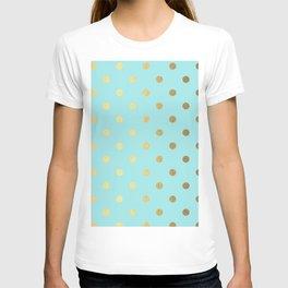 Gold polka dots on aqua background - Luxury turquoise pattern T-shirt
