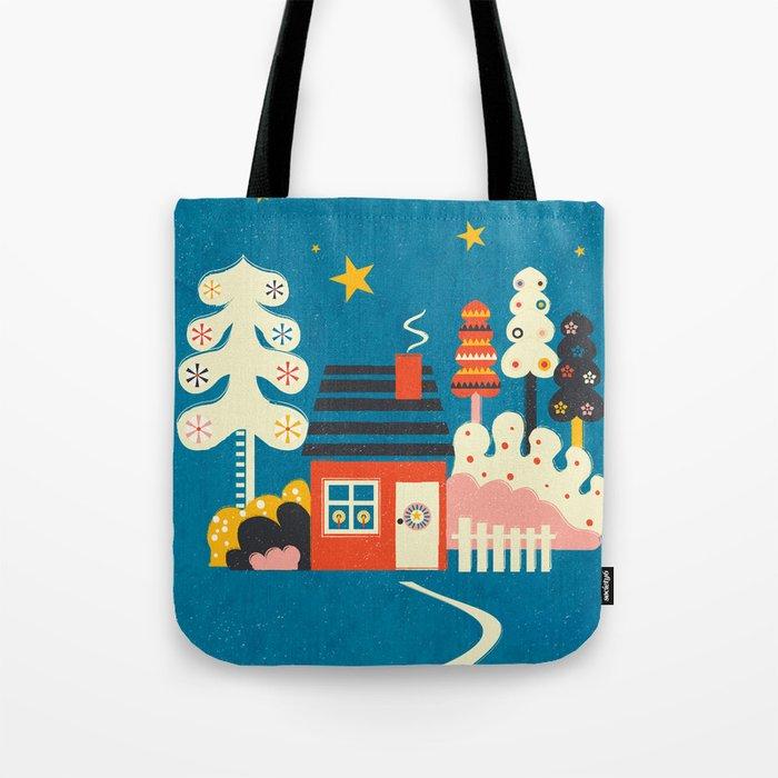 Festive Winter Hut Tote Bag