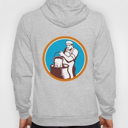 Cheesemaker Pouring Bucket Curd Circle Woodcut Hoody