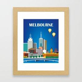 Melbourne, Australia - Skyline Illustration by Loose Petals Framed Art Print