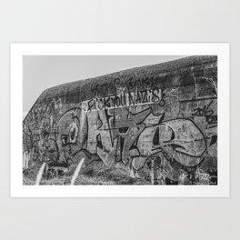 Bunker FCKNZS Graffiti Denmark Nymindegab bw Art Print
