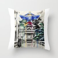 spirited away Throw Pillows featuring Spirited Away by Sandra Ink