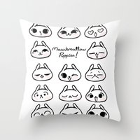 puppies Throw Pillows featuring Marshmallow Puppies! by Carina Soares