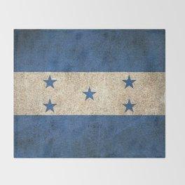 Old and Worn Distressed Vintage Flag of Honduras Throw Blanket