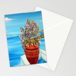Santorini terrace flowers pot Stationery Cards
