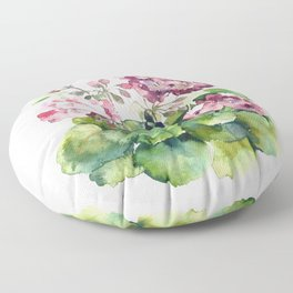 Watercolor pink geranium flowers aquarelle Floor Pillow
