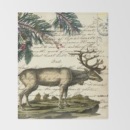 western country primitive christmas mountain animal wildlife winter pine tree elk Throw Blanket