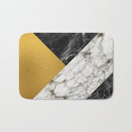 Gold foil white black marble #4 Bath Mat