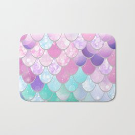 Mermaid Sweet Dreams, Pastel, Pink, Purple, Teal Bath Mat
