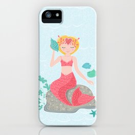 Whimsical Mermaid on a Rock iPhone Case
