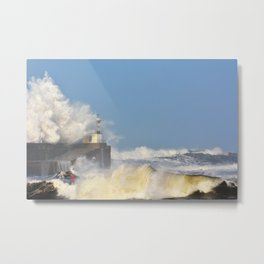 Stormy wave over lighthouse and pier of San Esteban de Pravia Metal Print