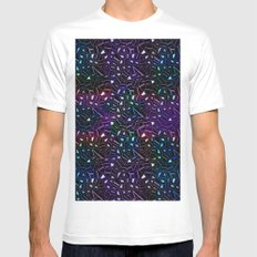 Midnight Rainbow Glitter MEDIUM Mens Fitted Tee White
