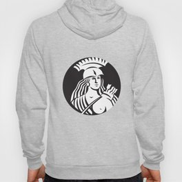 Female Spartan Warrior Circle Black and White Hoody