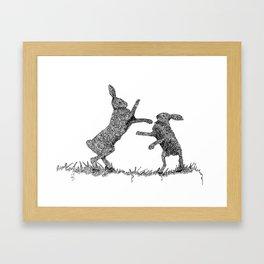 Boxing Hare Zentangle Artwork By Emily Hunter-Higgins Framed Art Print