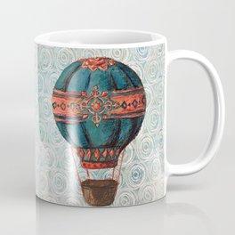 Vintage Hot Air Balloon: Navy and Coral Coffee Mug