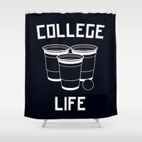 college Shower Curtains featuring College Life Inverted by Danielle Menard