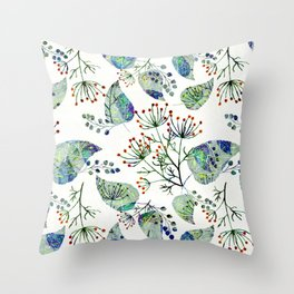 Abstract floral pattern .Orange flowers blue green leaves on white Throw Pillow