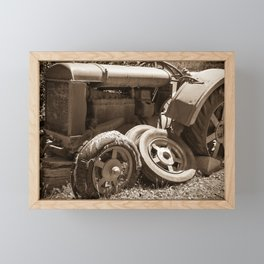 Vintage rusty abandoned farm tractor in poor condition Framed Mini Art Print