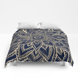 Cute Retro Gold abstract Flower Drawing  geometric Comforters
