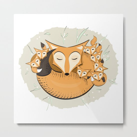 Mom fox Metal Print