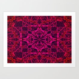 Red kaleidoscope pattern Art Print