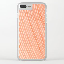 Coral Dream Stripes Clear iPhone Case