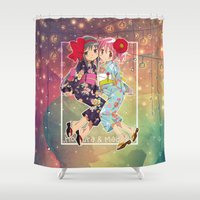 madoka Shower Curtains featuring Madoka and Homura in Yukata dress by Neo Crystal Tokyo