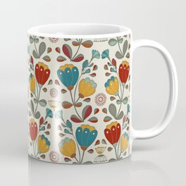 Vintage Ethno Flowers in red, blue and yellow on beige Coffee Mug