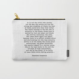 Man In The Arena Theodore Roosevelt Quote Carry-All Pouch