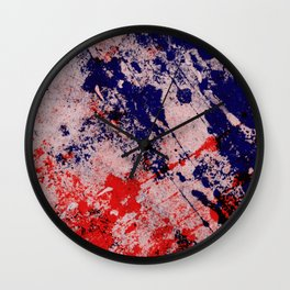 Hot And Cold - Textured Abstract In Blue, Red And Black Wall Clock