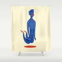 onesie Shower Curtains featuring High  by Karl James Mountford