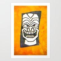 tiki Art Prints featuring Tiki by materndesign