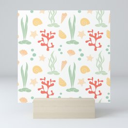 cute summer pattern background with seashells, corals and starfishes Mini Art Print