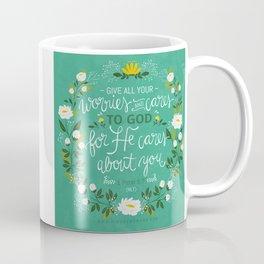 1 Peter 5:7 NLT Coffee Mug